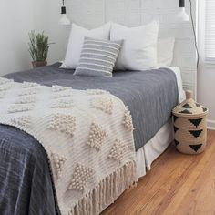 Handcrafted in Mexico by MexChic Design Studio Add a warm, wintry touch to your bedroom with this generously-sized throw. Hand-loomed using the finest sheep's wool in Mexico, its boucle weave and soft Bedding Master Bedroom, Dorm Bedding, Bedroom Sets, Home Bedroom, Diy Bedroom Decor, Navy Bedding, Bedrooms, Bedding Decor, Modern Bedding
