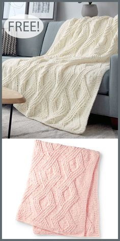 Free Knitting Pattern For Twisted Stitch Diamond Blanket - Quick ; Free Knitting Pattern For Twisted Stitch Diamond Blanket - Quick ; Baby Knitting Patterns, Knitting Blanket Patterns, Knitted Throw Patterns, Free Baby Blanket Patterns, Knitting Stitches, Blanket Yarn, Easy Knit Blanket, Quick Knits, Knitted Throws