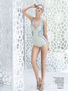 Prada Bodysuit - nevena dujmovic by pascal chevallier for glamour russia may 2012