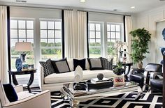 Bold-pattern-of-the-rug-and-the-throw-pillows-drive-home-the-black-and-white-color-palette