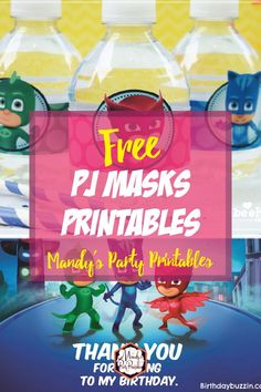 Make your party a DIY success with these Free PJ Masks Party Printables from Mandy's Party Printables. From bottle wrappers, to signs, you can get it here! Pj Masks Birthday Cake, Safari Birthday Party, Boy Birthday Parties, 4th Birthday, Birthday Ideas, Pj Mask Party Decorations, Diy Birthday Decorations, Pjmask Party, Party Ideas