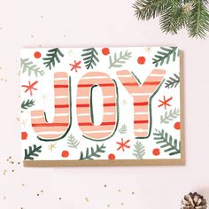 Joy Christmas Card by Jade Fisher, the perfect gift for Explore more unique gifts in our curated marketplace. Christmas Artwork, Christmas Words, Christmas Paintings, Christmas Greeting Cards, Christmas Greetings, Simple Christmas, Handmade Christmas, Christmas Crafts, Family Christmas