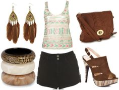 how to wear high waisted shorts for night with tribal print tank brown cross body bag brown platform sandals bangles and gold feather earrings