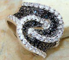 CLASSY BLACK ONYX & WHITE TOPAZ RING~925 SS~SZ. 8.5~LIKE B DIAMONDS! HEIRLOOM ITEM~SALE!