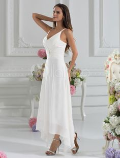 Tatered Hem Wedding Gown   Slim line Straps handkerchief hem Wedding ...