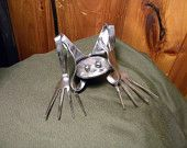 Hear No Evil,Stainless Steel,Silverware Frog,Welded Art ,Metal Sculpture