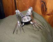 Hear No Evil,Stainless Steel,Silverware Frog,Welded Art ,Metal Sculpture