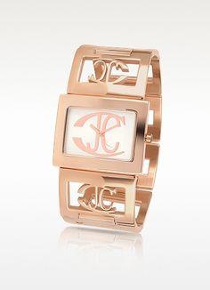 Squared - Logo Rose Gold Plated Link Bracelet Watch - Just Cavalli