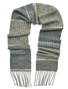 Grey striped hand woven wool winter mens scarf by Pretty Warm Designs