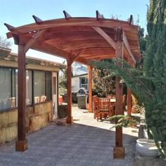Shop online for Pergolas at Forever Redwood. Hand-crafted Arched Pergola Kits available in custom sizes, shapes, and wood grades. Curved Pergola, Deck With Pergola, Diy Pergola, Pergola Kits, Gazebo, Backyard Patio, Backyard Landscaping, Backyard Ideas, Patio Ideas