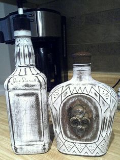 New soap dispensers for the parents out of a crown royal bottle & jack daneils bottle