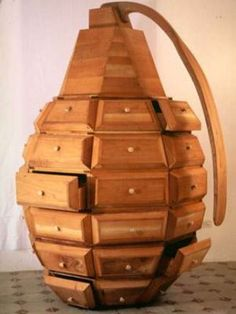 How about bringing a grenade into your bedroom? Before your mind starts drifting away to a conflict zone, the Grenade that we are talking about is a practical piece of furniture from the designer trio of the design firm called Los Carpinteros. Unique Furniture, Furniture Design, Weird Furniture, Furniture Ideas, Furniture Stores, Refurbished Furniture, Metal Furniture, Furniture Makeover, Vintage Furniture