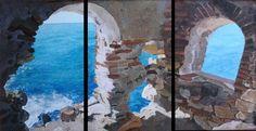 El. Salto de La Mora. Oleo sobre lienzo (3x) 40x70cm.