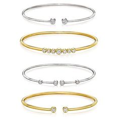 Bypass cuffs in 18k gold with diamonds from A. Link's Flex Forte collection; 18k gold with diamonds, $1,775–$2,975