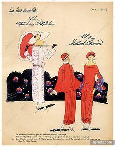 1923 MARTIAL & ARMAND, MADELEINE & MADELEINE ''Les Idees Nouvelles de la Mode'' Fashion Art Deco Pochoir ''Tres Parisien
