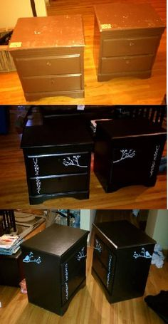 night stands from a thrift store+paint+stencils= new night stands for the bedroom!    Total cost= about 30 bucks!