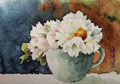 Watercolor Paintings by RoseAnn Hayes: Peonies Watercolor Painting