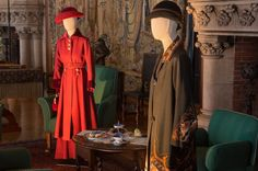 Downton Abbey costumes at Biltmore, 2-28-15.  Mary in Red, Edith in olive.   Lady-grantham credit