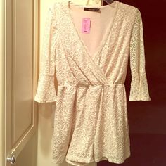 NWT precious lace romper Nude lace romper size small, bell sleeve Ark & Co Other