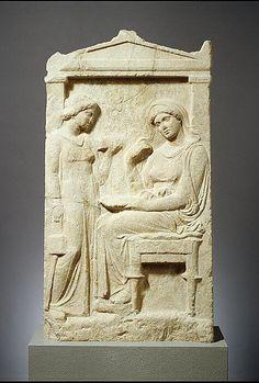 Marble stele (grave marker) of Phainippe  Period: Late Classical Date: ca. 400–390 B.C. Culture: Greek, Attic