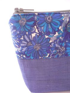 Indigo blue cosmetic pouch small zipper pouch  by malmokkobags, $10.00