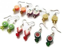 Fruit Earrings, Orange Slice Fimo Jewelry  #kitschbitch  #thecraftstar  $7.99