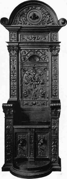 Goth:  #Goth ~ carved wood chair (black) , 16th Century  - Belonging to M. Chabriere- Arles.