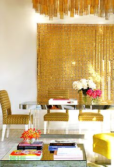 """The Gold """"Space curtain"""" by Paco Rabanne :: Photo by Eric Hughes for Elle Decor"""