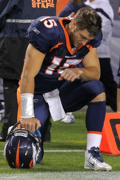 Tebow tebowing I don't really follow football, but I do love that he is a man of God and he is not afraid to show it.