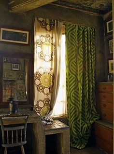 With no one blinking anymore at chairs that don't match, or mixing decorating styles. would you draw the line at mismatched curtains? Shutters With Curtains, Cool Curtains, Shower Curtains, Curtain Designs, Curtain Ideas, Beautiful Curtains, Fancy Houses, Country Curtains, Custom Drapes