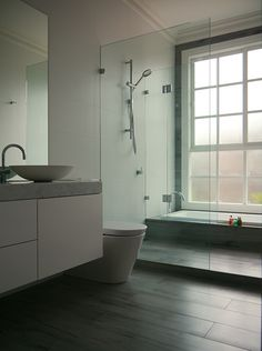 eat.bathe.live :: bathroom designed by eat.bathe.live featuring timber look tiles and sunken bath
