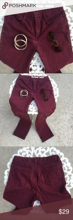 """Burgundy Straight Leg Jeans. 💢I love this color! Perfect for Fall. Two front & two back pockets. Gently used condition. """"Sutton Straight."""" Waist measures 14 1/4"""" across when lying flat. Inseam is 31"""". 🔴30% off of bundles CLEAROUT SALE🔴 Jones New York Pants Straight Leg"""