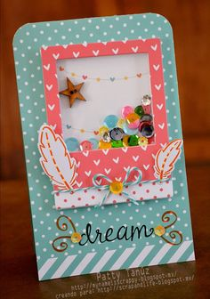 Scrap and life: Reto No. Cute Cards, Diy Cards, Baby Mini Album, Diy Crafts For Girls, Karten Diy, Interactive Cards, Shaker Cards, Scrapbook Embellishments, Card Tags