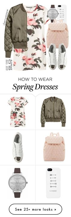 """Girly sporty spring outfit"" by cherrysnoww on Polyvore featuring Monki, Olivia Burton, Vera Bradley and adidas"