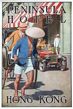 Vintage Dan Sweeney Peninsula Hotel HONG KONG China luggage label Fine Art Print Giclee Poster by VintageImageryX