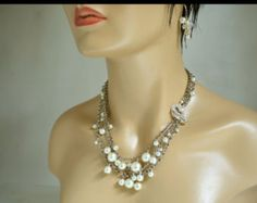 Bridal Pearl Statement Necklace  Wedding Jewelry  Rhinestone