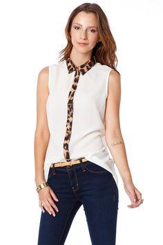 ShopSosie Style : Leopard Trim Button Down