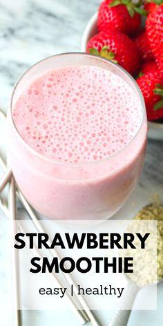 Strawberry Smoothie Recipe Without Yogurt, Yogurt Smoothies, Healthy Breakfast Smoothies, Easy Healthy Breakfast, Breakfast For Kids, Healthy Food, How To Make Smoothies, Smoothies For Kids, Easy Smoothies