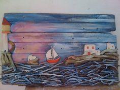 seaside mykonos furniture: Πίνακες ζωγραφικής μικτή τεχνική