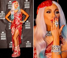 I find it amazing someone was even able to put this all together... but a meat dress? Come on, even for Lady Gaga I think that might be a bit over the top... but that's just me.