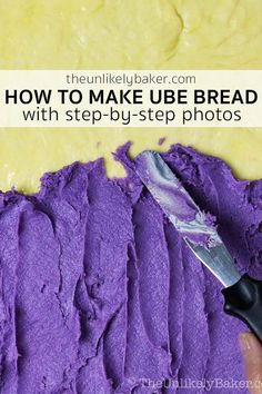 Making ube bread has never been easier. Just follow the step-by-step photo instructions for perfect ube bread every time. Delicious ube jam enveloped in soft, fluffy bread and served with toasted coconut.  #ubebread #filipinocuisine #breadrecipe Filipino Desserts, Filipino Recipes, Asian Recipes, Filipino Food, Baking Tips, Bread Baking, Ube Bread Recipe, Ube Jam, Baking Store