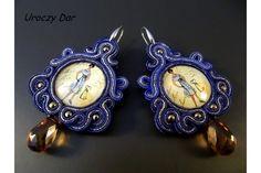 Kolczyki sutasz - madame chic / Soutache Earrings with hematite stone - madame chic [Uroczy Dar] -> Zitolo.com