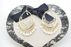 Gream white and gold Long  earrings hook earrings  chandelier  drop earrings by heavenlycow. Explore more products on http://heavenlycow.etsy.com