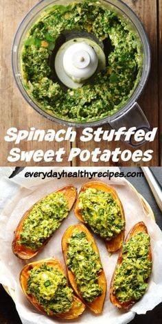 Vegetarian Spinach & Feta Stuffed Sweet Potatoes These simple vegetarian stuffed sweet potatoes with spinach and feta make a quick and delicious snack. Also great as an appetizer or light lunch. Serve hot or cold. Vegetarian Recipes Easy, Vegetable Recipes, Healthy Recipes, Healthy Snacks Vegetarian, Spinach And Potato Recipes, Quick Vegetarian Dinner, Vegetarian Barbecue, Paleo Meals, Healthy Lunches