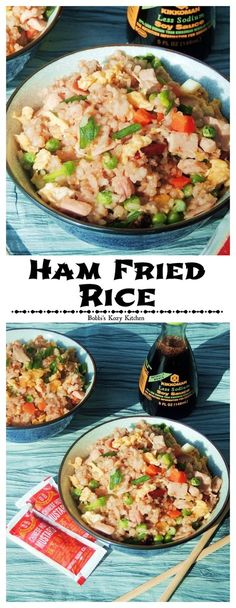 Ham Fried Rice - Craving take out AND have leftover ham? Well you can kill two birds with one stone by making this delicious rice! | www.bobbiskozykitchen.com