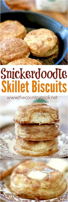 Snickerdoodle Skillet Biscuits recipe from The Country Cook Biscuits And Gravy, Easy Biscuits, Buttermilk Biscuits, Dessert Biscuits, Honey Butter Biscuits, Blueberry Biscuits, Breakfast Cookies, Savory Breakfast, Country Breakfast