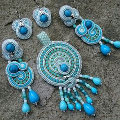Aqua soutache jewelry