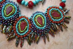 Beaded Embroidery Necklace Paisley Dance by justbrez on Etsy, $98.00