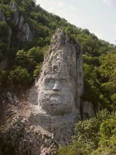Decebalus Rex (King Decebal). The bigest stone statue in Europe.  Dubova, Romania.