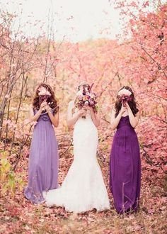 """""""Radiant Orchard"""" different shades of purple and lavender long bridesmaid's dresses. Great for summer, spring, and possibly even fall weddings. The Wedding Scoop Spotlight: 8 Bridesmaid Dress Trends We Love"""